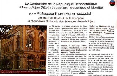 В французском журнале «Parlament» опубликован доклад профессора Ильхама Мамедзаде