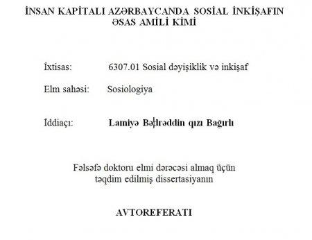 Avtoreferat - Lamiyə Bağırlı