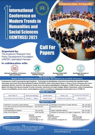 1st International Conference on Modern Trends in Humanities and Social Sciences 2021 (ICMTHSS)